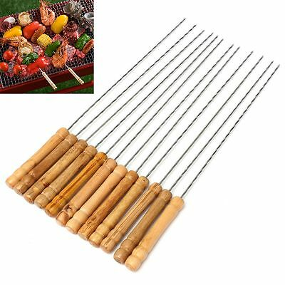 6/12X Wooden Handle Stainless Steel Barbeque Skewer Needle BBQ Kebab Stick 30cm
