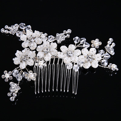 White Seed Beads Rhinestone Flower Hair Clip Comb For Women Bridal Wedding Party