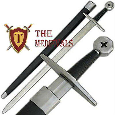 Templar Crusader Arming Sword Leather Scab with Belt Cross Pommel Knight armor