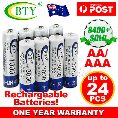 OZ 4-20X BTY AA / AAA Rechargeable Battery Recharge Batteries 1.2V 3000mAh Ni-MH
