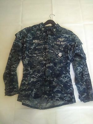 Us Navy Digital Blue Camo Jacket Medium Long