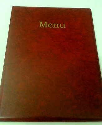qty 10 A4 MENU HOLDER/COVER/FOLDER IN RED LEATHER LOOK PVC