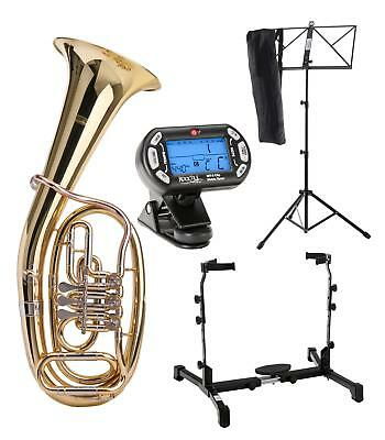 Brass Tenor Horn Wind Instrument Bb Tuning Metronome Music Stand Support Set