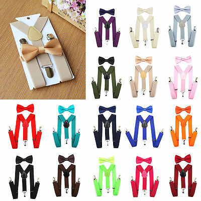 Suspender Adjustable Bow Tie Matching Tie Colors Sets For Boys Girls Kids Gifts