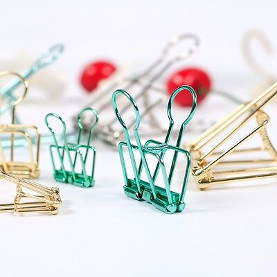 Portable Wire Clips, Copper, Set of 9 Binder File Clips Office Paper Ticket DIY