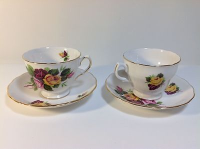 Pair of ROYAL VALE CUPS and SAUCERS x 2 Pattern no. 8315