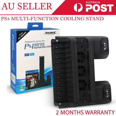 Multi Function Cooling Stand Dock Charge Game Disc Holder for PS4 Slim Pro
