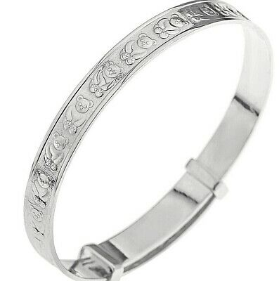 Real Silver Baby Expanding Christening Gift Bangle Baptism Birthday Bracelet 925