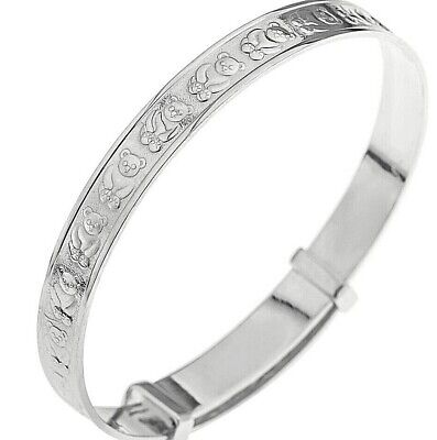 Solid 925 Sterling Silver Adjustable Baby's Christening Bangle Bracelet Gift Box