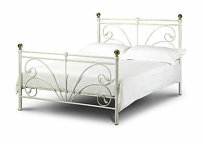 Victorian Ivory King Size 5ft Metal Bed Frame Shabby Chic French Style Antique