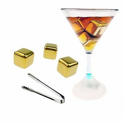 Stainless Steel Whiskey Stones Gold Ice Cubes Chillers Drink Reusable with tongs