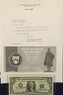 """1977 Autographed $1 Federal Reserve Note By The Treasurer & Secretary """"crisp"""""""