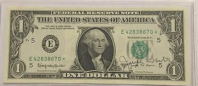 "1963 B Autographed $1 Bill By Joseph W. Barr - Secretary ""crisp"" ***star Note***"
