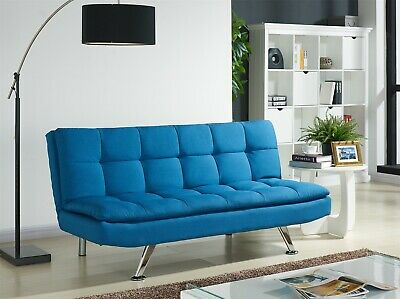Fabric Sofa Bed 3 Seater Padded Sofabed Chrome Legs Cube Design Various Colours