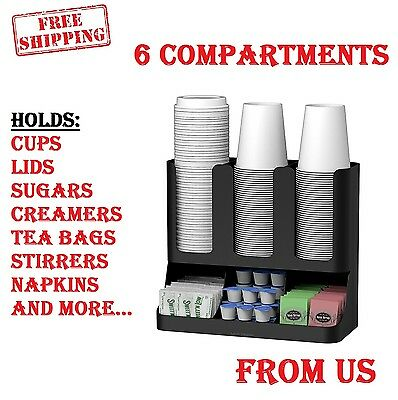 Coffee Cup Station Organizer Display Dispenser Holder Caddy Rack Break Condiment