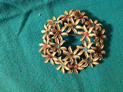 Vintage Gold Tone Colored Rhinestones Flower Circle Pin Brooch