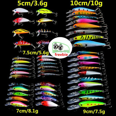 48pcs Fishing Lures Mixed Lure Artificial Crank Minnow Bait Fishing Tackle LOT 2
