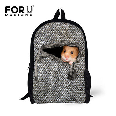 Cute Hamster Backpacks Girls School Bag Boys Bookbag Chilren Rucksack Daypack