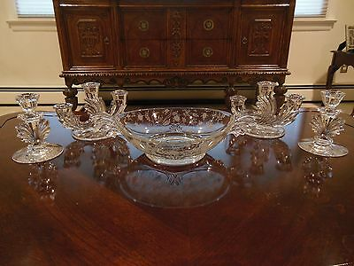 Vintage Fostoria Baroque Crystal Chintz (Etched) 5 Pc. Set