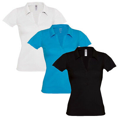 Womens Ladies Polo T Shirt V Neck Short Sleeve Top Open Collar Fitted Fashion UK