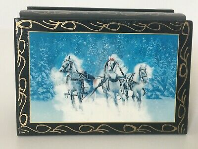 NEW Russian Hand Painted Lacquer Jewelry Box Made In Russia