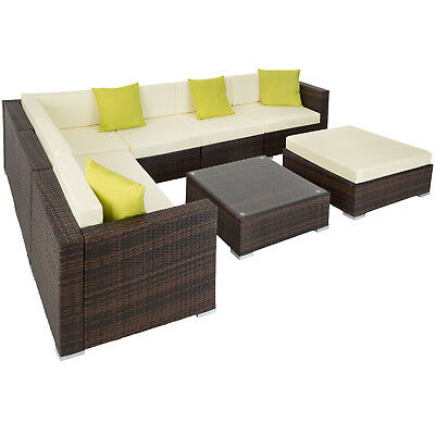 Ensemble salon de jardin aluminium résine tressée poly rotin table sofa marron
