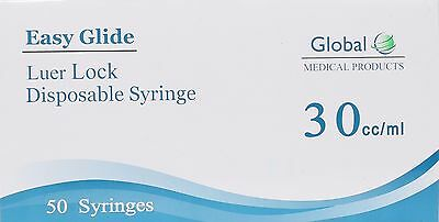 50-Pack Easy Glide 30cc/30 ML LUER LOCK SYRINGES 30mL STERILE SYRINGE NO NEEDLE