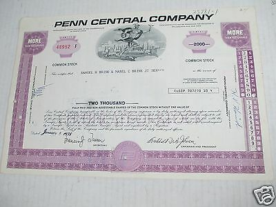 Penn Central Company Transportation Stock Certificate Shares Railroad Canceled