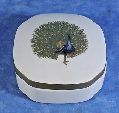 "Villeroy & Boch Fine China 4"" Candy/ Trinket Box- Gold Peacock BIRDS Chateau Col"