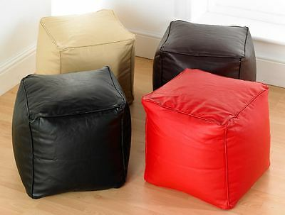 Luxury Faux Leather Cube Pouffe Footstool in Black,Red,Cream, & Brown Free P&P