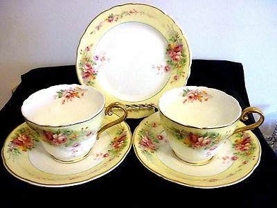 2 Very Pretty Art Deco Aynsley Bone China Cups, Saucers And Tea Plates Sets