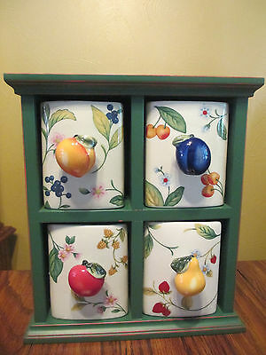 Storage Cabinet  Wood Frame W/Ceramic Drawers in Fruit on the Vine by Princess