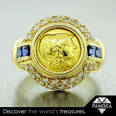 Vintage 22k Yellow Gold Ancient Greek Coin .34ctw Diamond & .20ctw Sapphire Ring