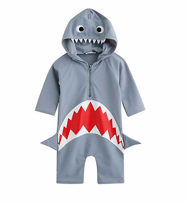 Shark Rash Guard One Piece Toddler Boys Hodded 3/4 Length Sleeves 2T to 6T