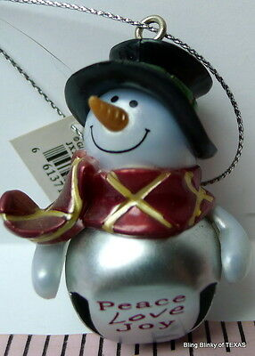 Jingle Bell Snowman Peace Love Joy Ganz Ornament