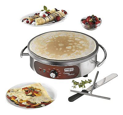 "Waring Commercial WSC160X Heavy-Duty Electric Crepe Maker, 16"", Stainless Steel"