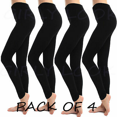 High Waisted Leggings Pack of 4 Control Slimming Tummy Support Shapewear Legging