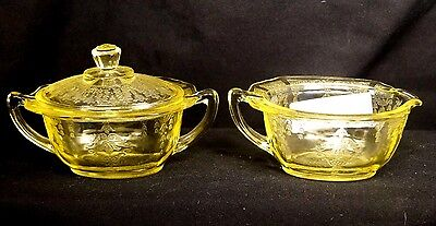 Vintage 1931-35 Hocking Yellow Princess Depression Glass Creamer & Covered Sugar