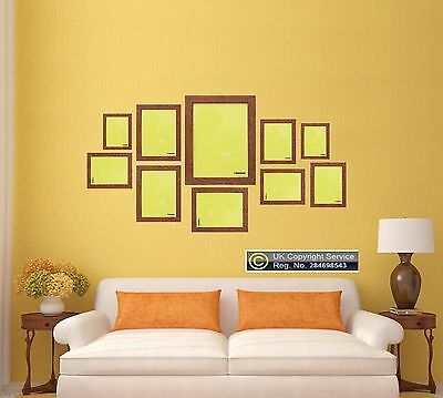 Walnut 10 Piece Multi Picture Frame Photo Frame Collage Wall Hanging Table Set