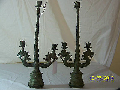 Chinese Qing Dy c1800's Dragon Head Verdigras Candelabras w/Bells