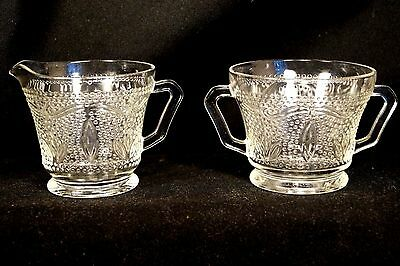 "Vintage 1940 - 55 Federal Crystal ""Heritage"" Depression Glass Creamer & Sugar"