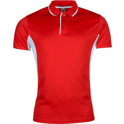 New Mens Breathable Polo Shirt Wicking Cool Contrast Running Gym Top Sports Lot