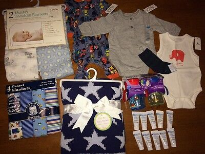 NWT Baby Boy Newborn Clothes Blankets Avent Cups Lot Take A Look!! All New