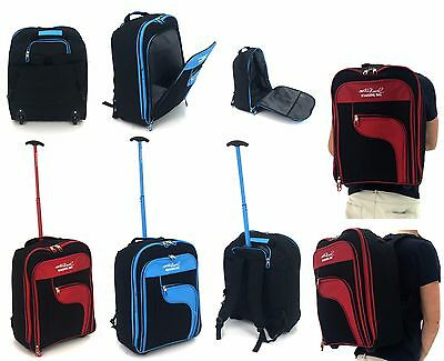 WHEELED BACKPACK HAND LUGGAGE TROLLEY BAG CABIN SUITCASE HOLDALL 50x38x20cm