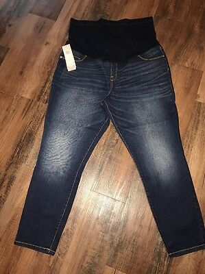 Liz Lange Maternity XL Ankle Skinny Jeans Over The Belly Panel NWT