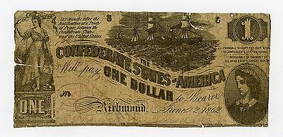 1862 Confederate States of America $1 One Dollar Bill Civil War Currency Note!