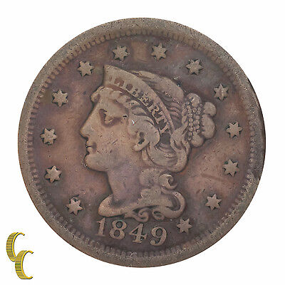 1849 Braided Hair Large Cent 1C Penny (Fine, F Condition)
