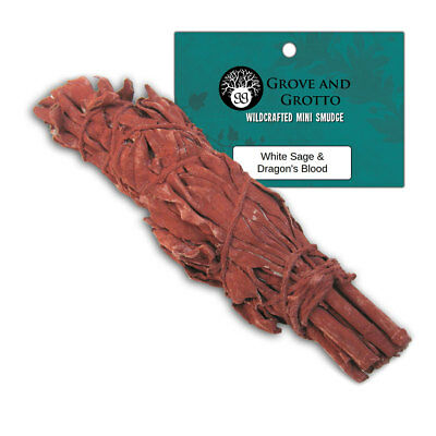 """NEW One Dragon's Blood and White Sage Smudge Stick 4"""" Wand w/ Resin Smudging"""