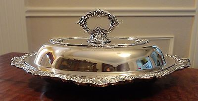 """BEAUTIFUL """"Baroque"""" by Wallace Silverplate Double Vegetable Bowl wLid - 13 5/8"""""""
