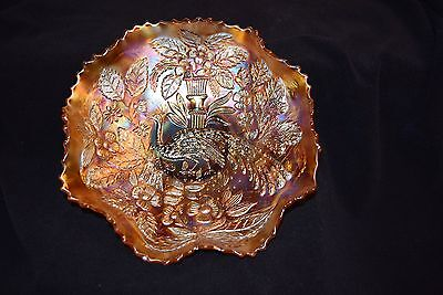 "Fenton ""Peacock in a Urn"" Marigold Ruffled Bowl"